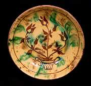 Redware Plate w/ Sgraffito Flowering Urn Decoration,