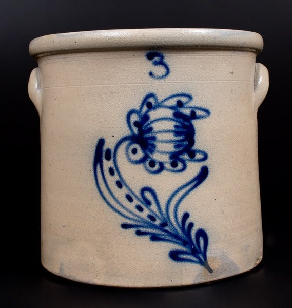3 Gal. Stoneware Crock with Slip-Trailed Floral