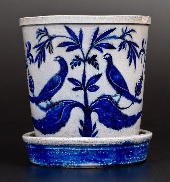 Extremely Important Stoneware Flowerpot w/ Elaborate