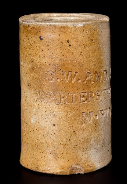 Rare Thomas Commeraw Stoneware Oyster Jar, G. W. & CO.
