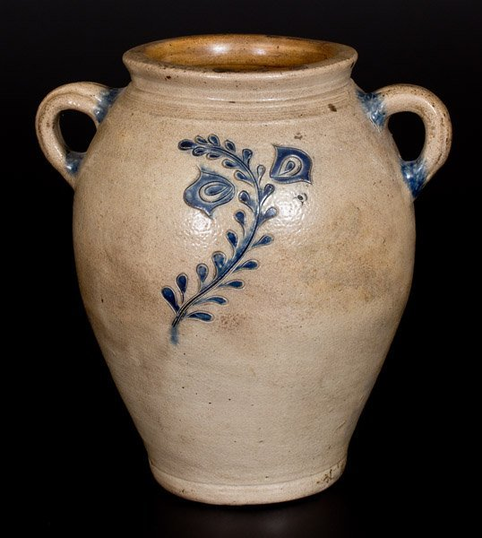 Open-Handled Stoneware Jar w/ Fine Incised Floral