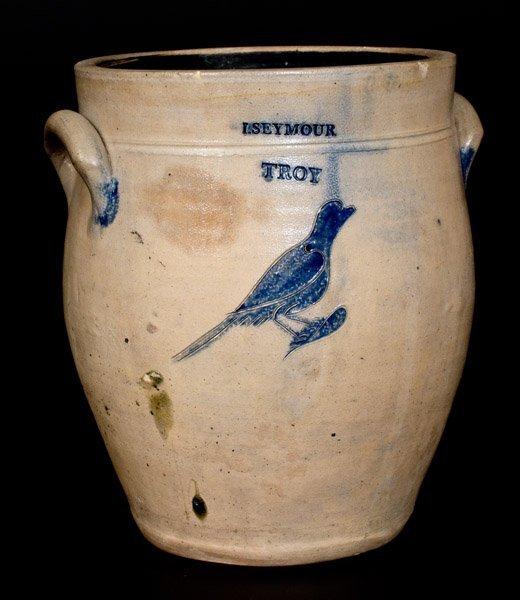 I. Seymour / Troy, New York, Stoneware Crock w/ Incised