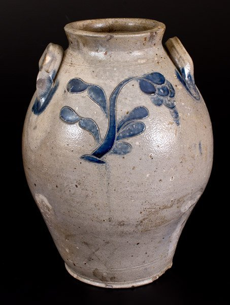 2 Gal. Ovoid Stoneware Jar with Incised Floral
