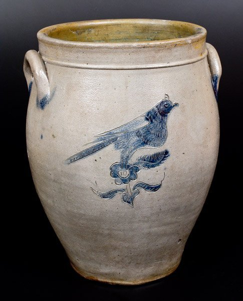 3 Gal. Stoneware Jar with Elaborate Incised Bird