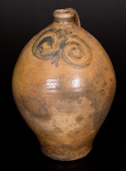 Early Ovoid Stoneware Jug w/ Watchspring Decoration, NJ