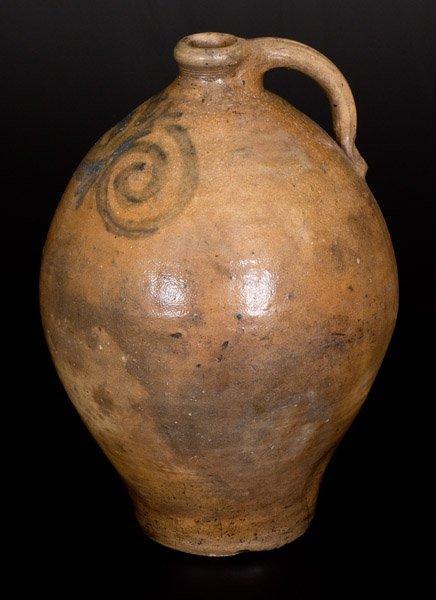 Early Ovoid Stoneware Jug w/ Watchspring Decoration, NJ - 3