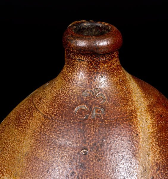 "Extremely Rare English Stoneware Jug w/ ""GR"" Beneath - 5"