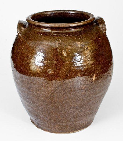 "Outstanding ""Lm"" Stoneware Jar attrib. Dave, Edgefield,"