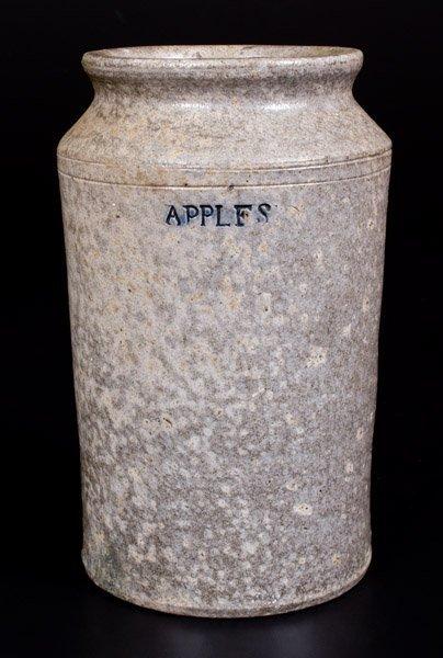 Exceedingly Rare Stoneware APPLES Fruit Jar, probably