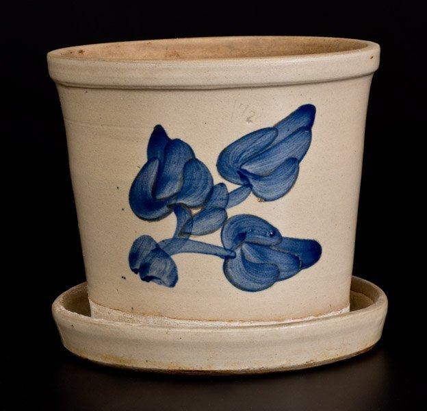 Cobalt-Decorated Bristol-Glazed Stoneware Flowerpot,