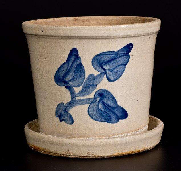 Cobalt-Decorated Bristol-Glazed Stoneware Flowerpot, - 2