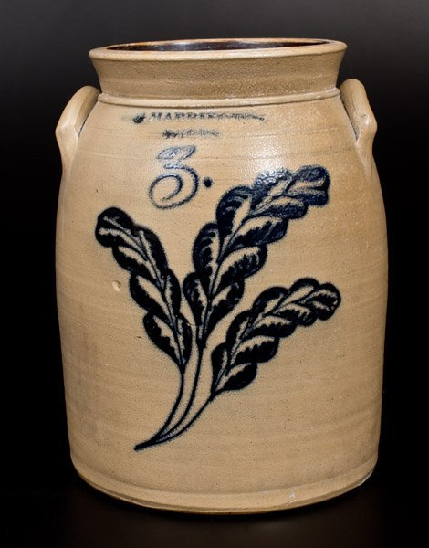 3 Gal. T. HARRINGTON / LYONS Stoneware Jar w/ Fine