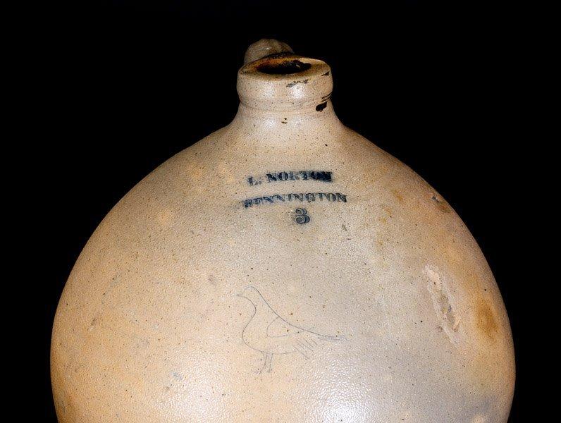 L. NORTON / BENNINGTON Stoneware Jug with Incised Bird - 3