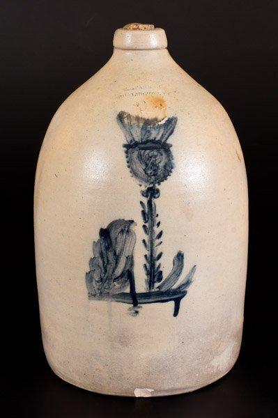 E. L. FARRAR / BURLINGTON, VT Stoneware Jug w/ Unusual
