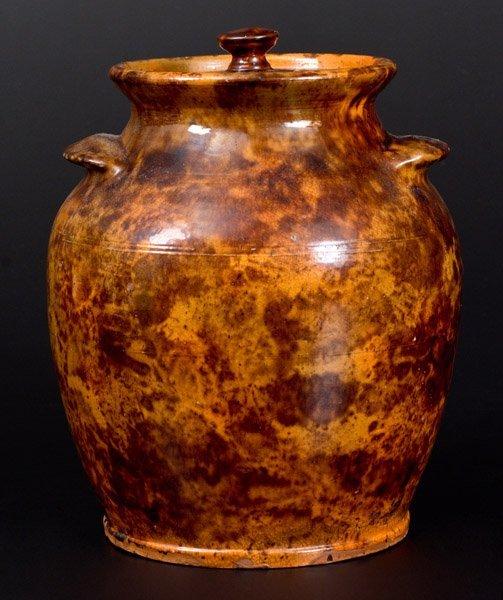 """Rare and Fine Redware Lidded Jar, """"Solomon Miller /"""