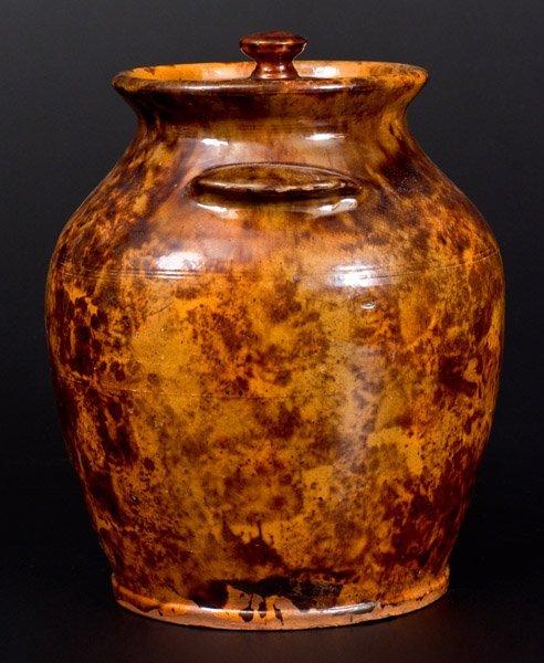 """Rare and Fine Redware Lidded Jar, """"Solomon Miller / - 2"""