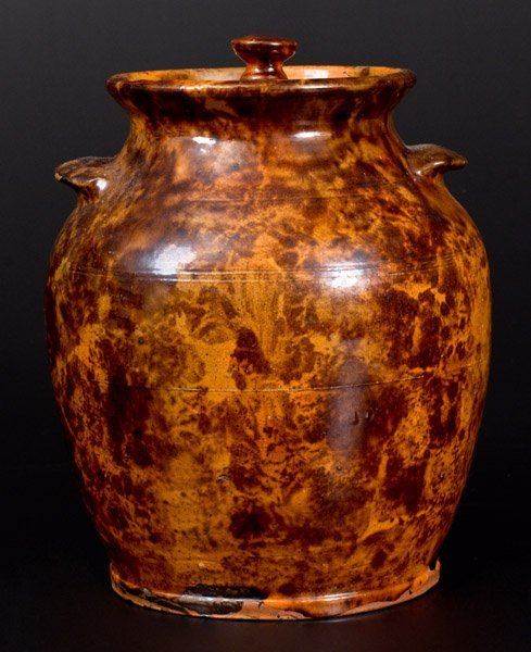 """Rare and Fine Redware Lidded Jar, """"Solomon Miller / - 3"""