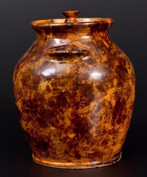 """Rare and Fine Redware Lidded Jar, """"Solomon Miller / - 4"""