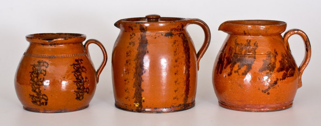 Lot of Three: Redware Batter Pitchers with Manganese