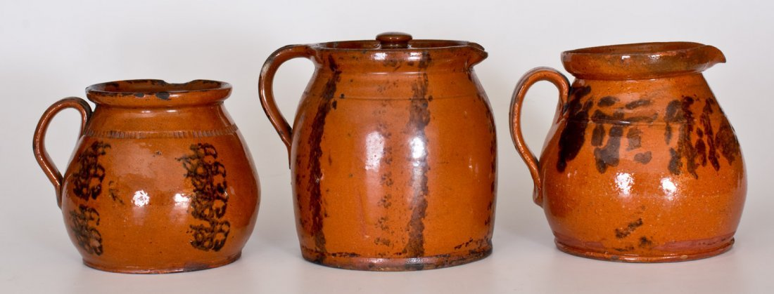Lot of Three: Redware Batter Pitchers with Manganese - 2