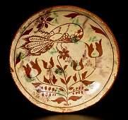 Sgraffito Redware Plate w/ Peacock Decoration, att.