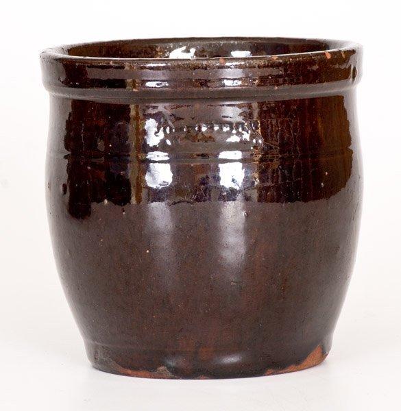 Small JOHN BELL / WAYNESBORO Redware Jar with Manganese