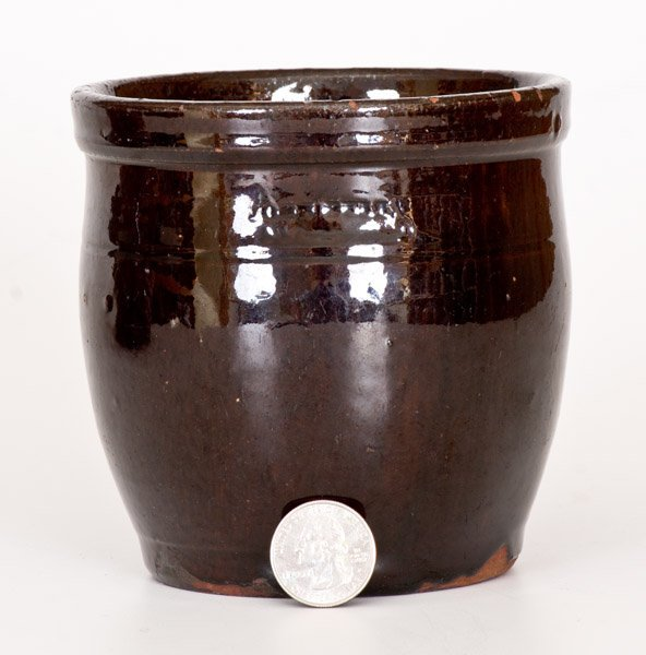 Small JOHN BELL / WAYNESBORO Redware Jar with Manganese - 2