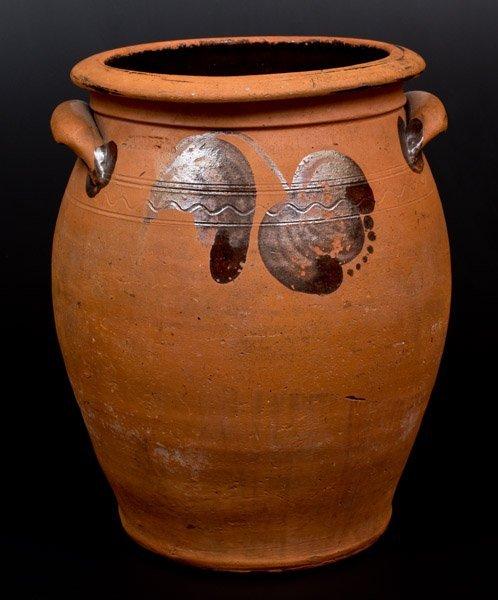 3 Gal. JOHN BELL / WAYNESBORO Redware Handled Jar w/
