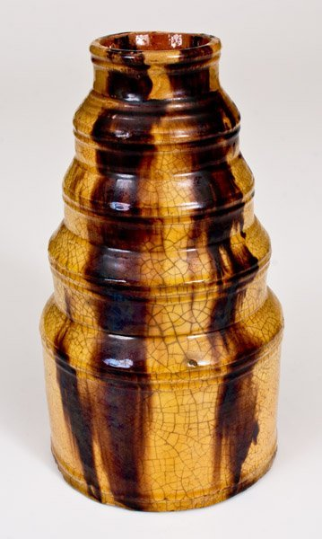 Exceptional Stepped Redware Jar with Slip Decoration, - 5