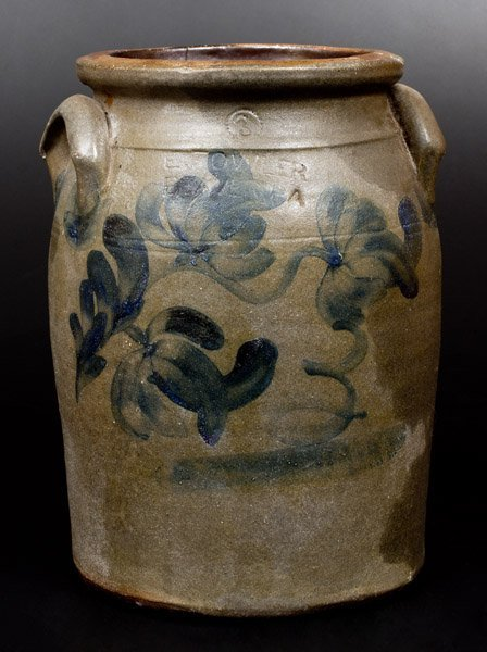 3 Gal. E. FOWLER / BEAVER, PA Stoneware Jar with Floral