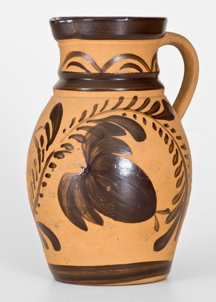 Western PA Tanware Pitcher with Large Brushed Floral