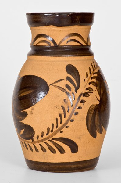 Western PA Tanware Pitcher with Large Brushed Floral - 2