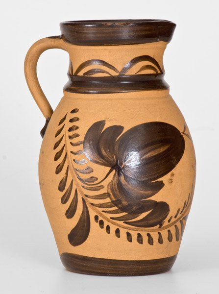 Western PA Tanware Pitcher with Large Brushed Floral - 3