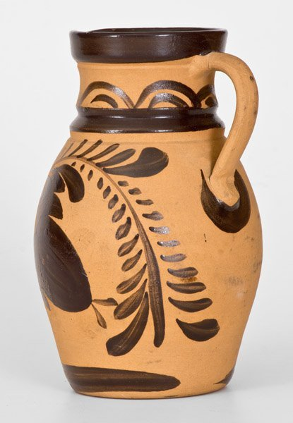 Western PA Tanware Pitcher with Large Brushed Floral - 4