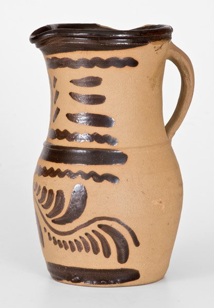 Western PA Tanware Pitcher with Striped and Vining - 3