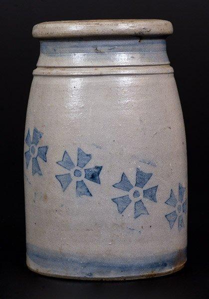 Stoneware Canning Jar w/ Stenciled Cobalt Decoration,