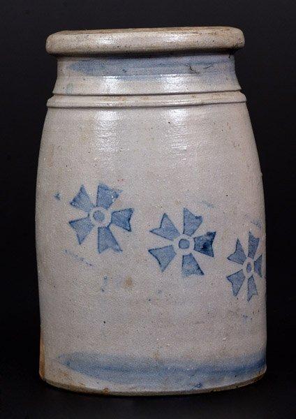 Stoneware Canning Jar w/ Stenciled Cobalt Decoration, - 2