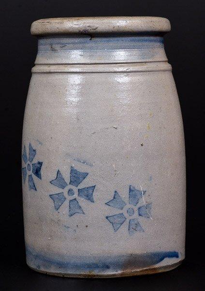 Stoneware Canning Jar w/ Stenciled Cobalt Decoration, - 3
