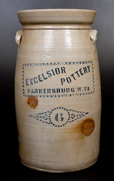 6 Gal. EXCELSIOR POTTERY / PARKERSBURG, W. VA Stoneware