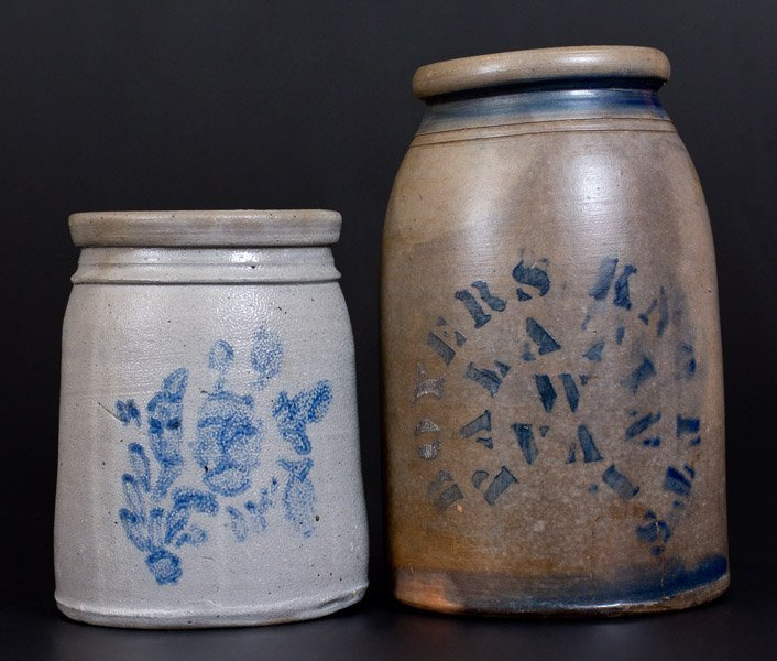 Lot of Two: Stoneware Jars, BOYERS & KNOTTS / PALATINE,