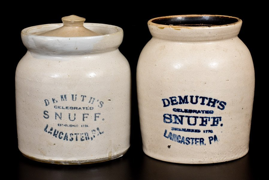 Lot of Two: Stoneware Snuff Jars Stenciled DEMUTH'S
