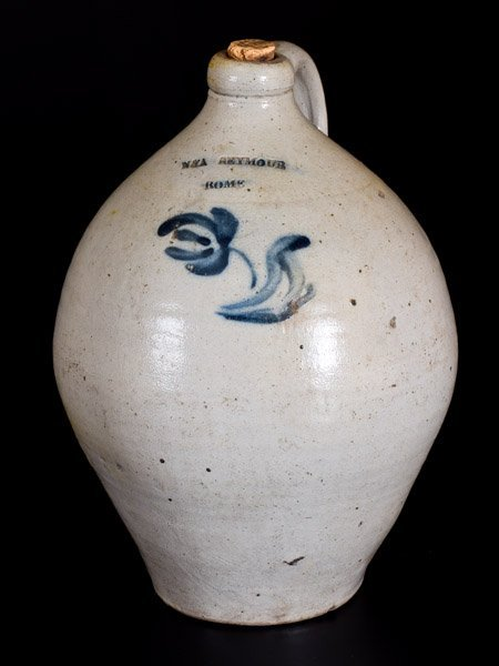 Rare N & A SEYMOUR / ROME, NY Ovoid Stoneware Jug w/