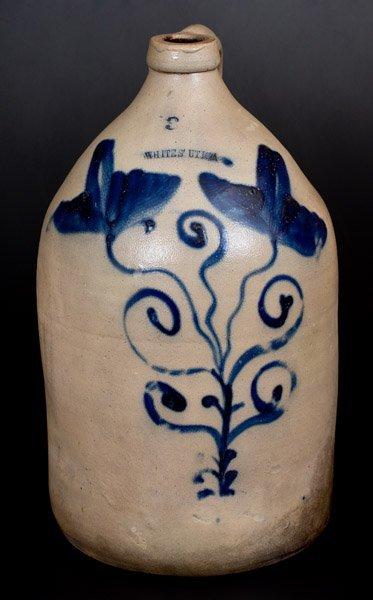 3 Gal. WHITES UTICA Stoneware Jug with Cobalt Floral
