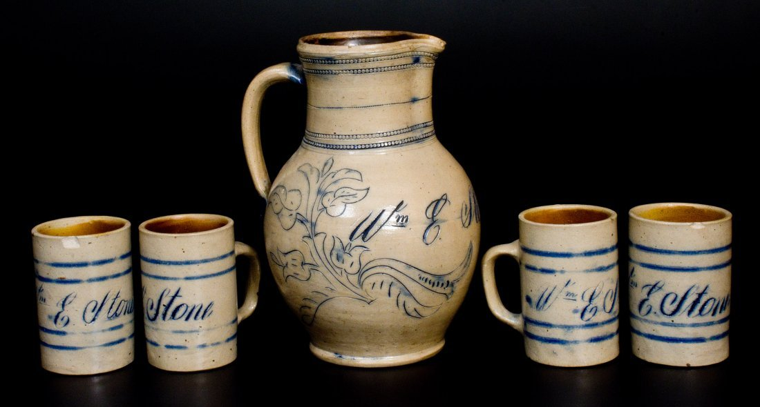Remmey / Philadelphia Pitcher and Mugs Set Inscribed - 2