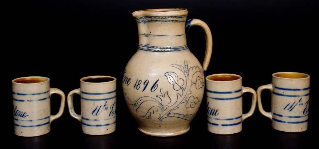 Remmey / Philadelphia Pitcher and Mugs Set Inscribed - 3