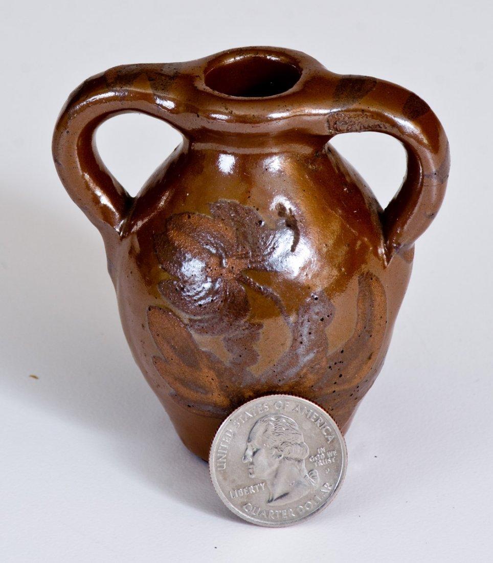 Unusual Miniature Albany Slip Stoneware Double-Handled