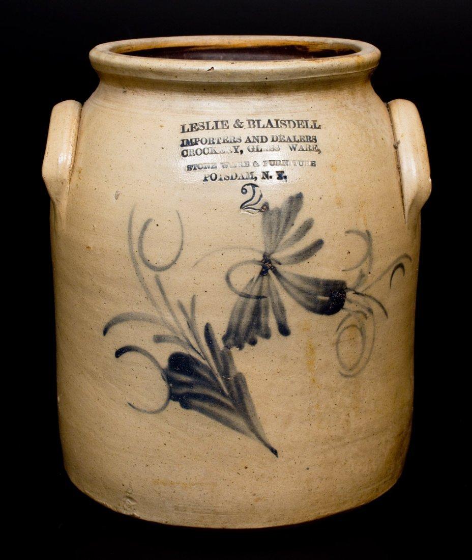 2 Gal. POTSDAM, NY Stoneware Jar with CROCKERY, GLASS
