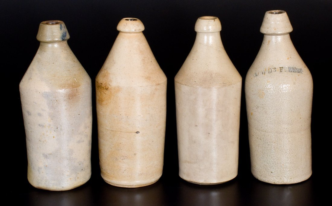 Lot of Four: Stoneware Bottles with Slip-Trailed Cobalt - 2