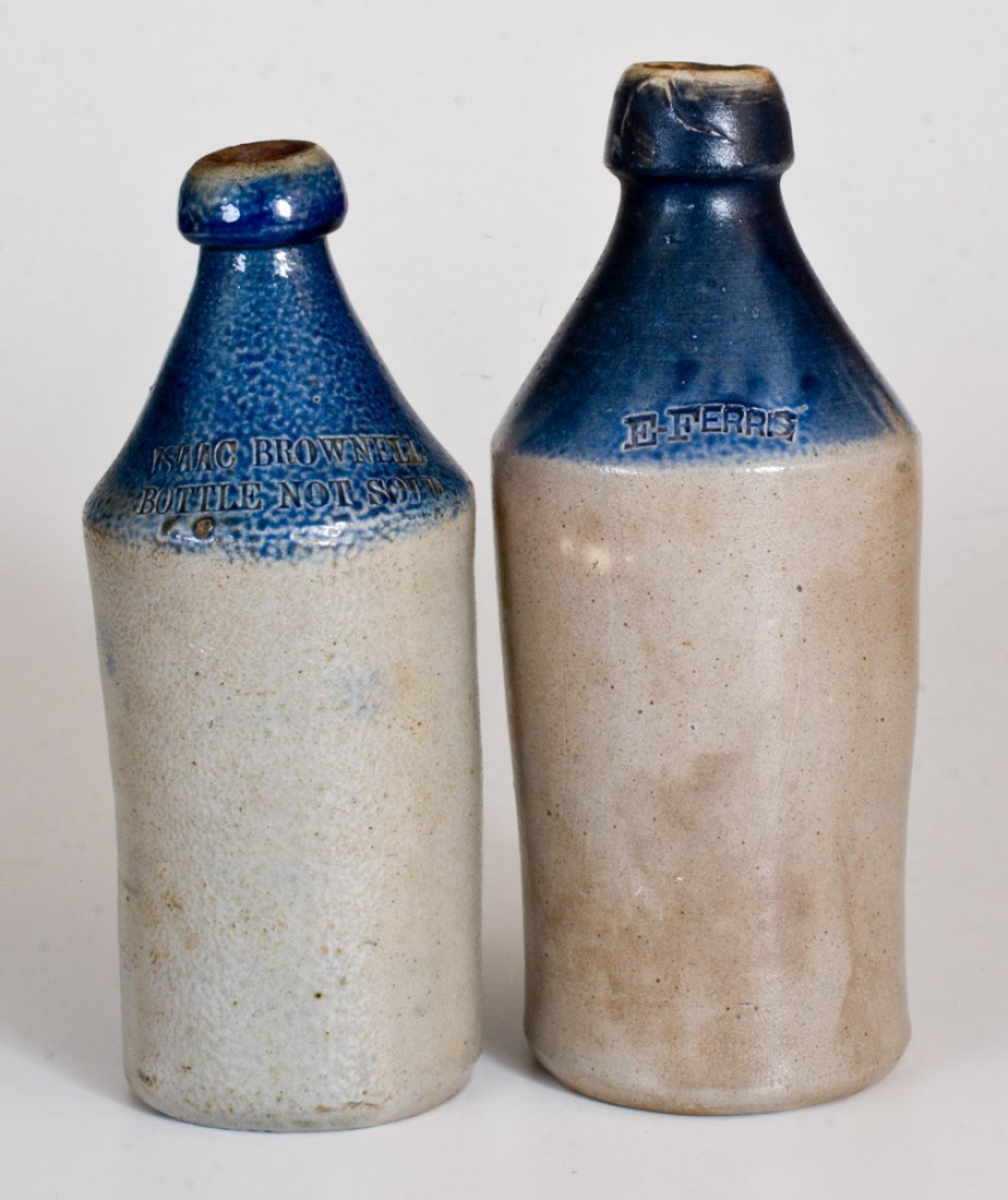 Lot of Two: Stoneware Bottles with Cobalt-Dipped Tops
