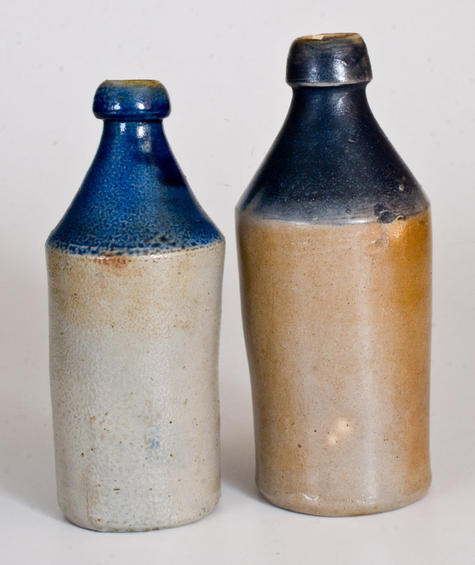 Lot of Two: Stoneware Bottles with Cobalt-Dipped Tops - 2